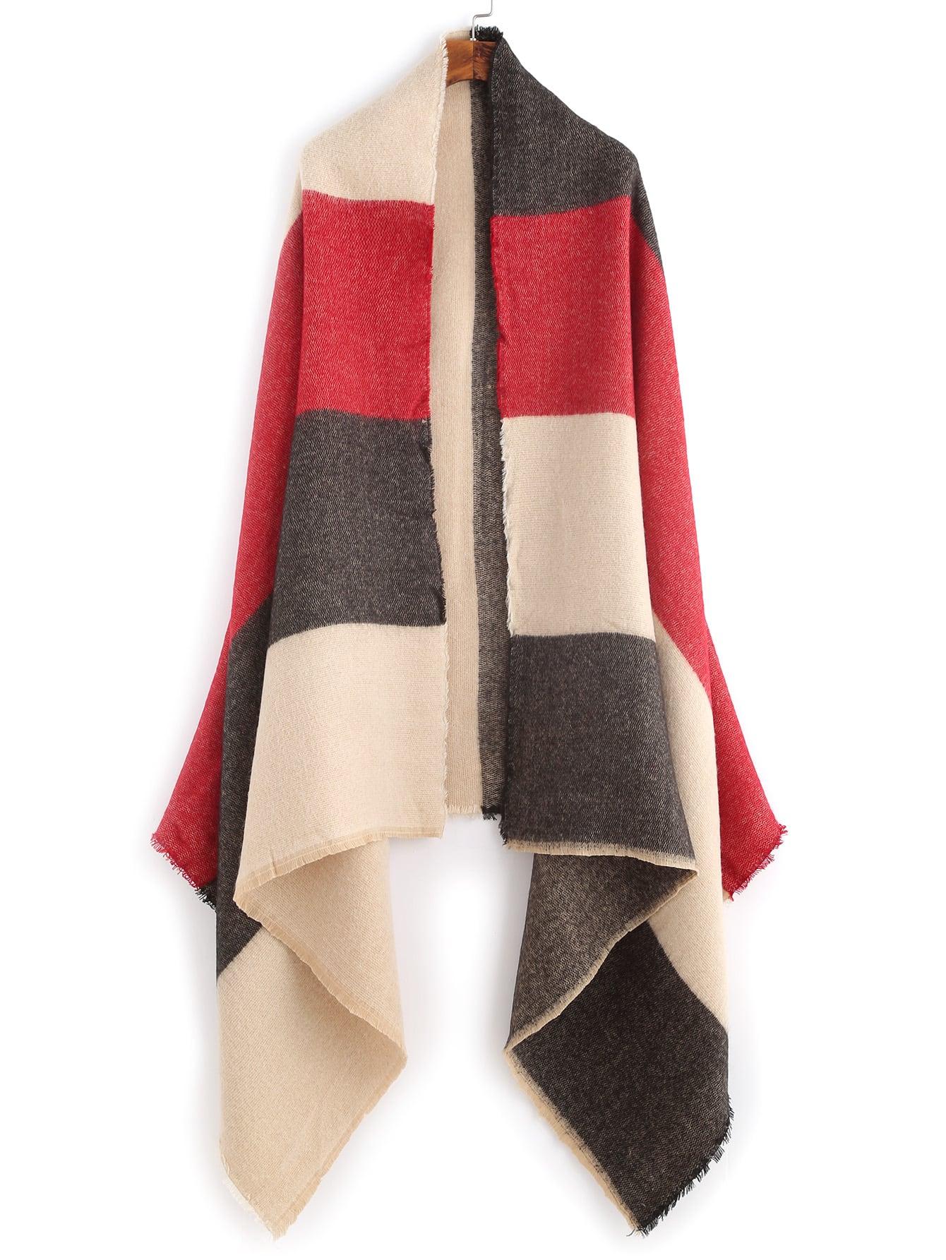 Mulitcolor Raw Edge Shawl Scarf scarf161029002