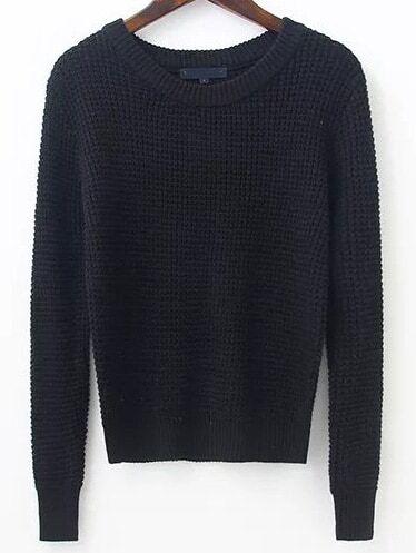 Black Waffle Knit Ribbed Trim Sweater sweater161031213