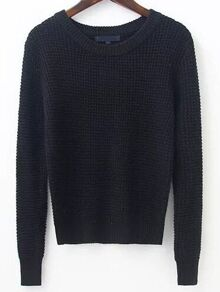 Black Waffle Knit Ribbed Trim Sweater