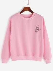 Pink Gesture Print Drop Shoulder Sweatshirt