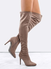 Faux Suede Pointed Toe Boots TAUPE