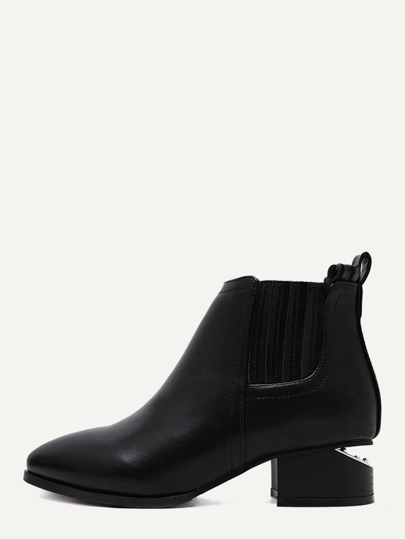 Black Faux Leather Point Toe Elastic Ankle Boots
