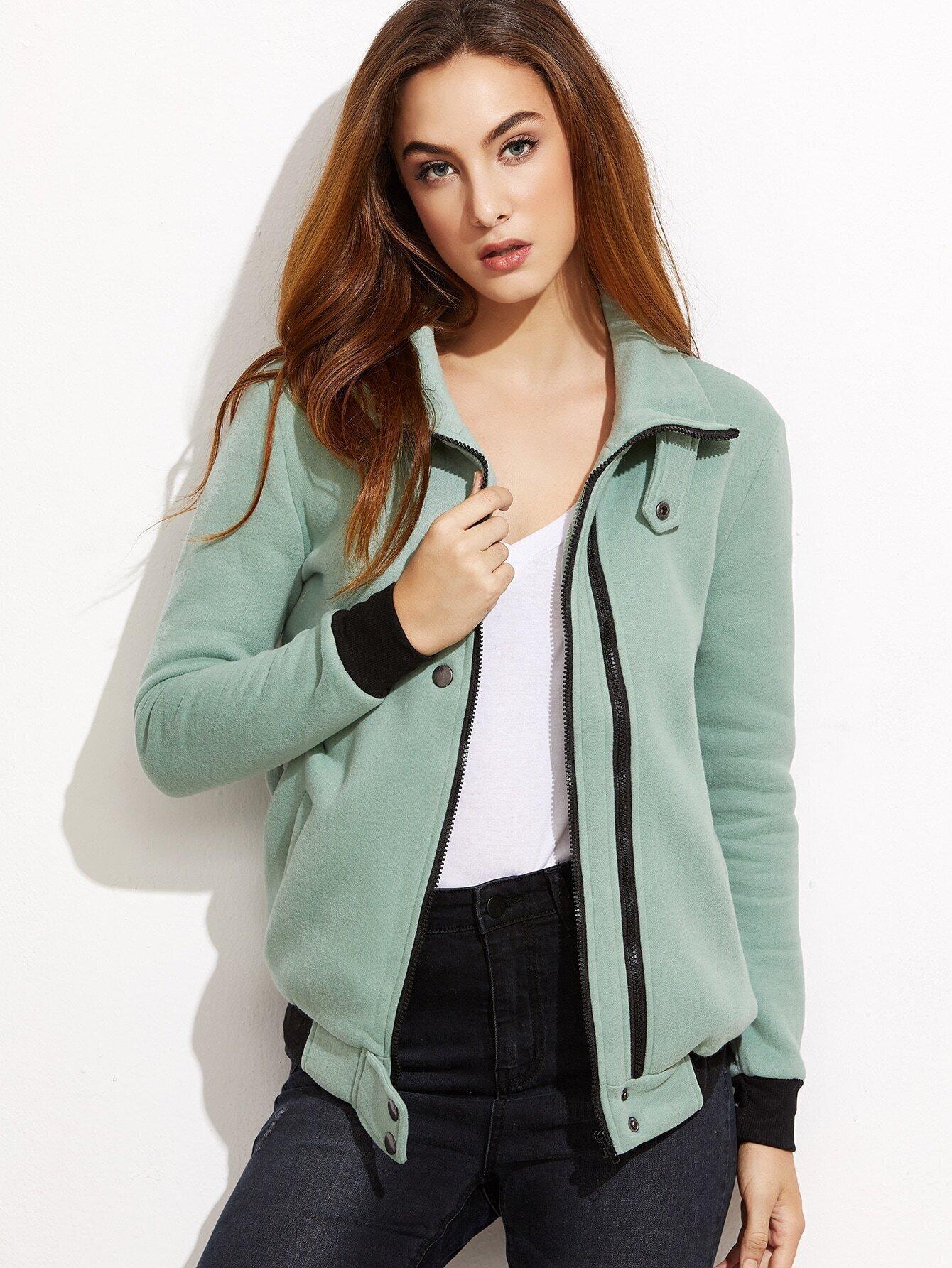 SheIn Green Contrast Trim Zip Up Jacket