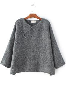 Grey Button Embellished Drop Shoulder Sweater