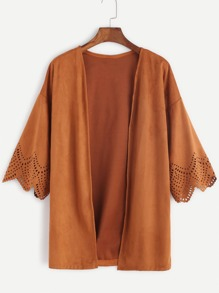 Khaki Hollow Out Scallop Sleeve Coat