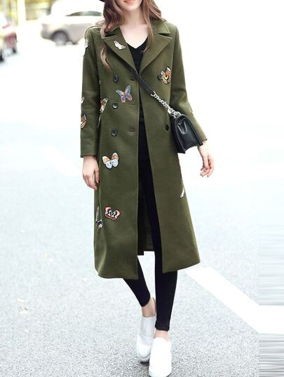 Army Green Lapel Butterfly Embroidered Coat