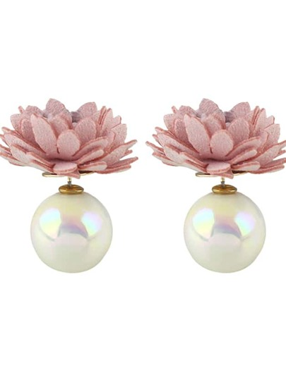 Pink New Imitation Pearl Flower Stud Earrings