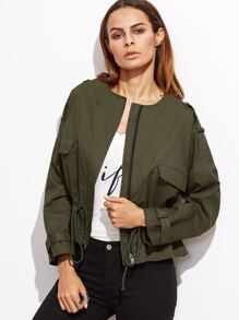 Olive Green Collarless Zip Up Drawstring Jacket