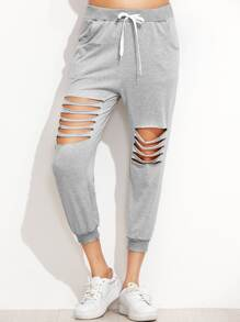 Ladder Cut Out Drawstring Waist Pants