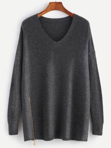 Grey V Neck Pullover Sweater With Zip Detail