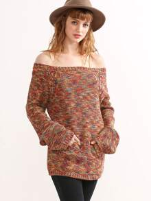 Multicolor Marled Knit Off The Shoulder Sweater