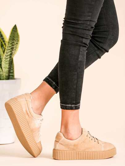 Apricot Faux Suede Lace Up Rubber Sole Low Top Sneakers