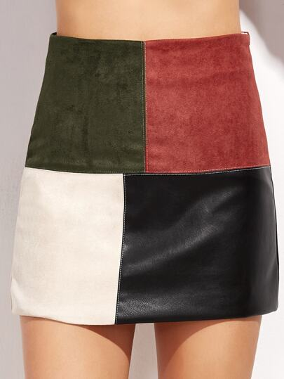 Patchwork Zipper Detail Fitted Skirt