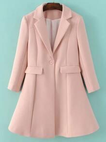 Pink Lapel Single Button Longline Coat