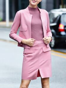Pink Long Sleeve Top With Split Skirt