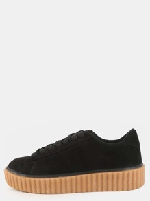 Lace Up Suede Sneakers BLACK