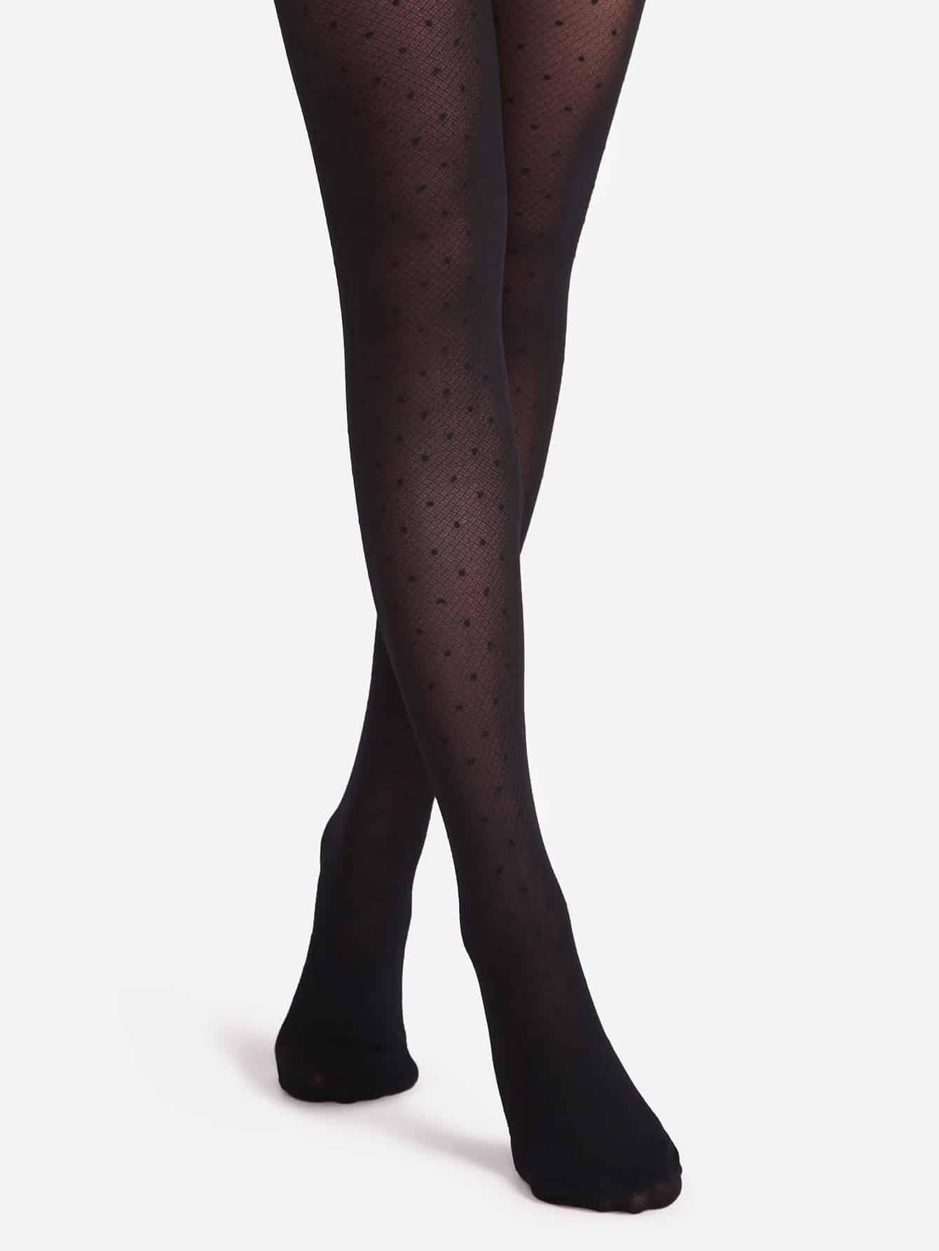 Black Polka Dot Sheer Pantyhose Stockings женские колготки pantyhose 2015 sexy sheer sheer stockings