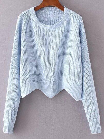 Blue Drop Shoulder Asymmetrical Sweater