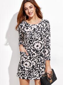 Mono Floral Print Pockets Shift Dress