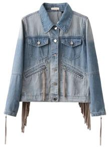 Jacket en mangas con cremallera y detalle de flecos denim - azul