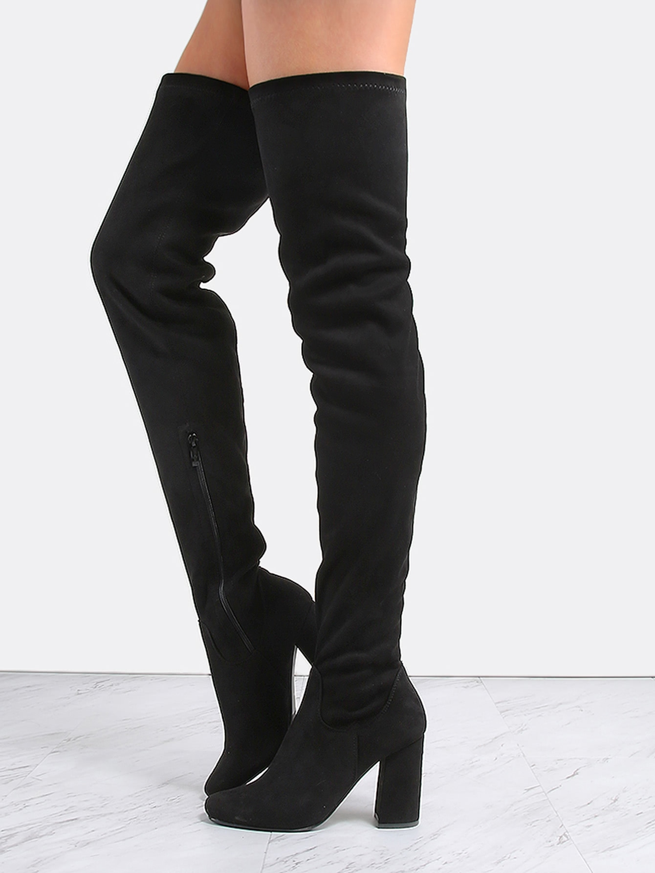 Square Toe Suede Thigh Boots BLACK