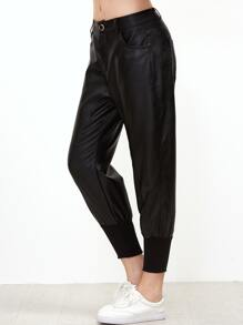 Black PU Capri Pants With Pockets