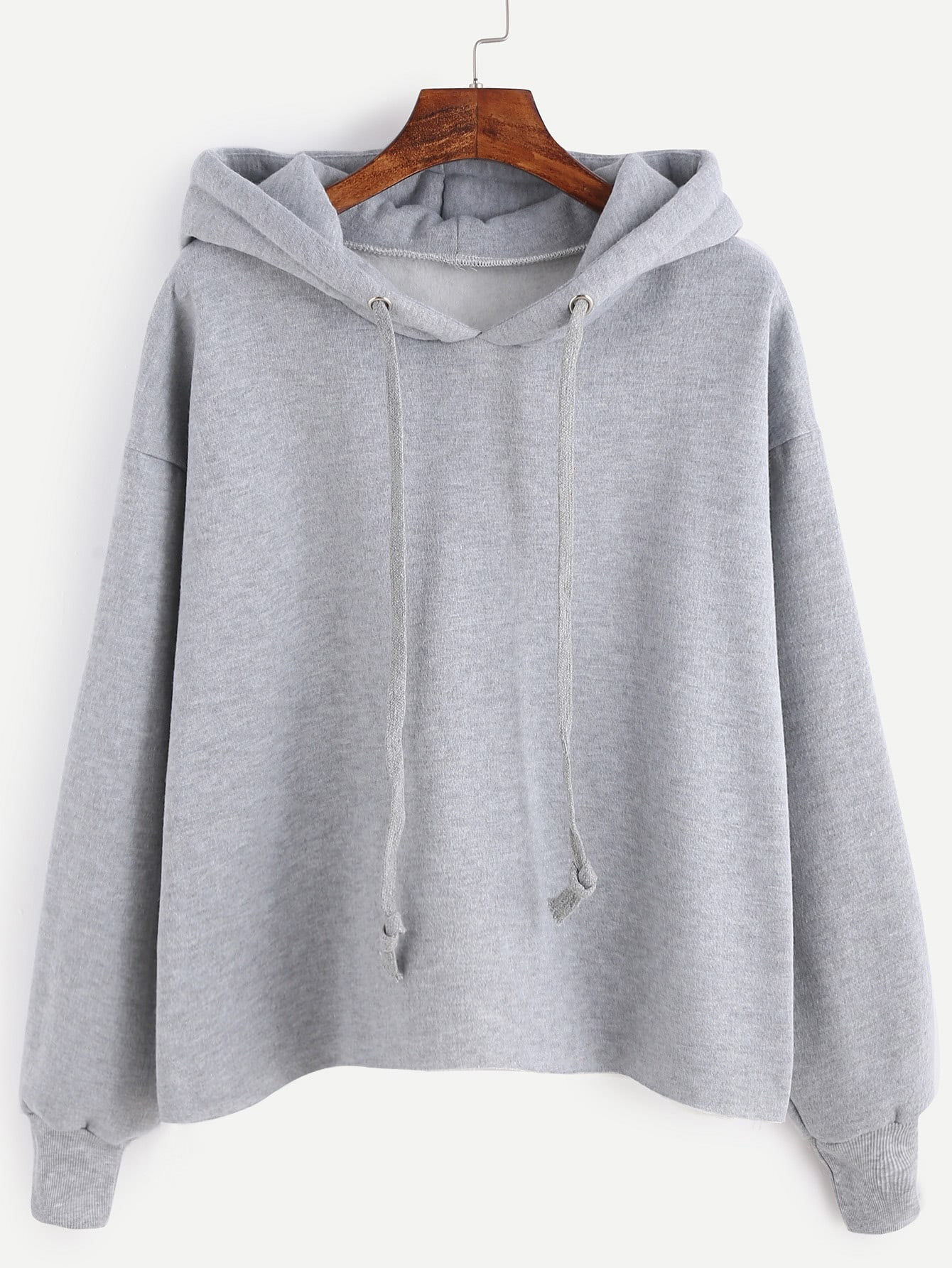 Grey Drawstring Hooded Sweatshirt sweatshirt161021105