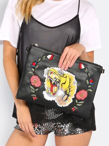 Embroidered Tiger Clutch Purse BLACK