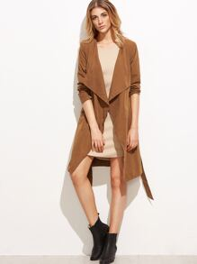 Khaki Drape Collar Wrap Coat With Belt