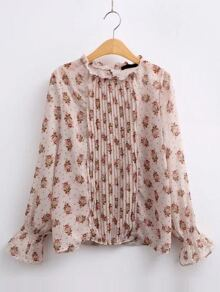Apricot Floral Print Bell Sleeve Pleated Blouse