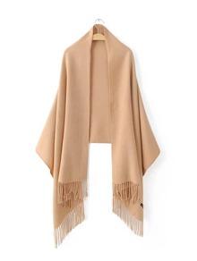 Bufanda larga con flecos elegante - beige