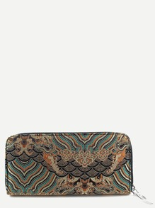 Coffee Tribal Embroidery Zipper Wallet