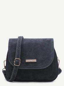 Grey Nubuck Leather Saddle Crossbody Bag