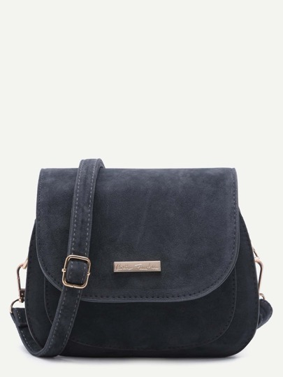 Grey Nubuck Leather Saddle Crossbody Bag