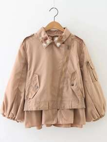 Khaki Flower Detail Oblique Zipper Coat
