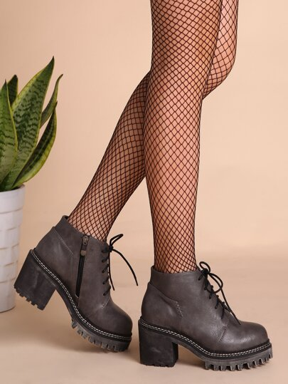 Grey PU Round Toe Lace Up Chunky Ankle Boots