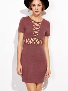 Brick Red Lattice Front Ribbed Bodycon Dress
