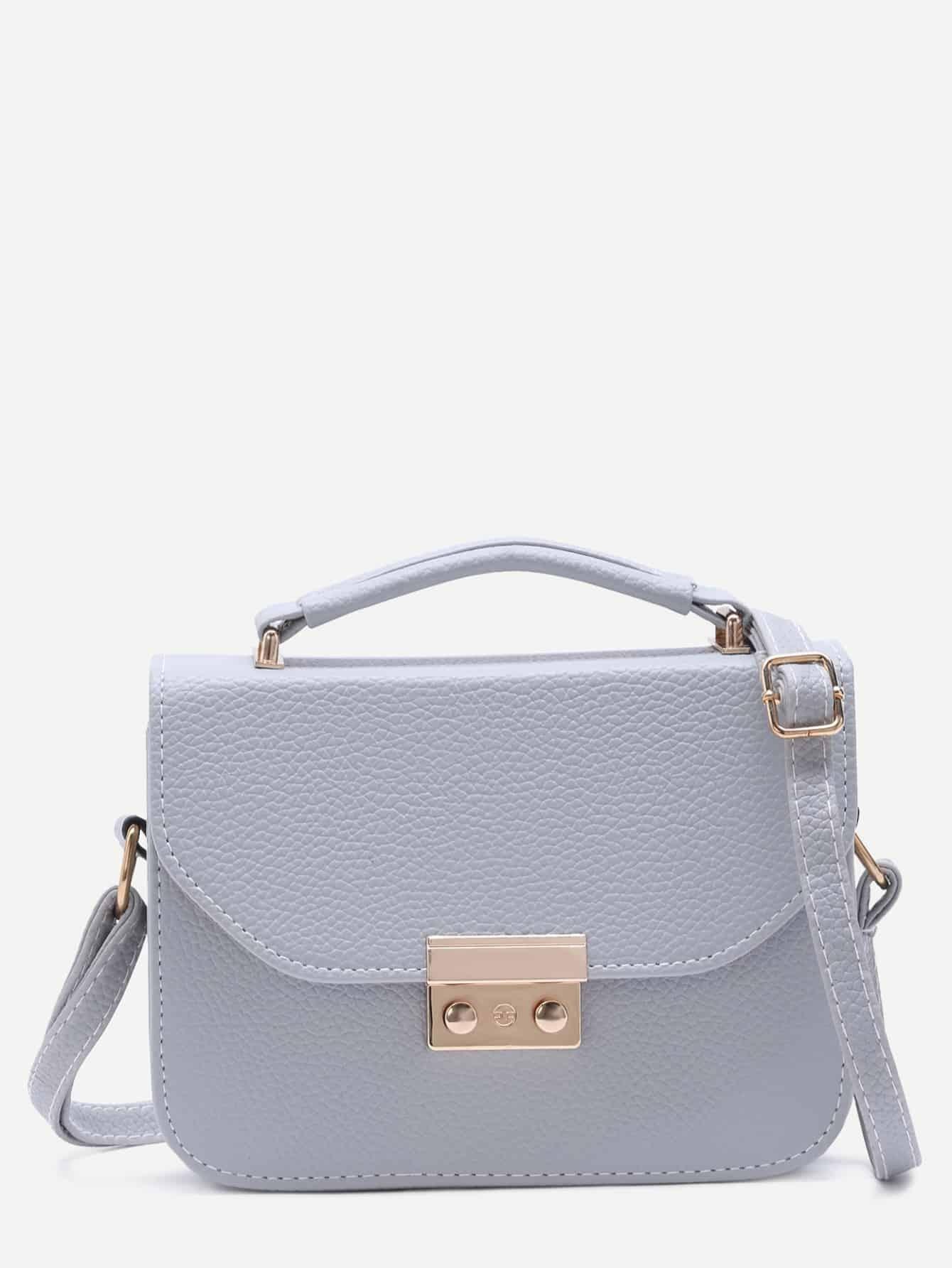 Grey Pebbled PU Box Handbag With Strap geometric design pu handbag with strap