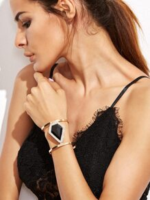 Black Statement Rhinestone Hollow Out Wide Bangle