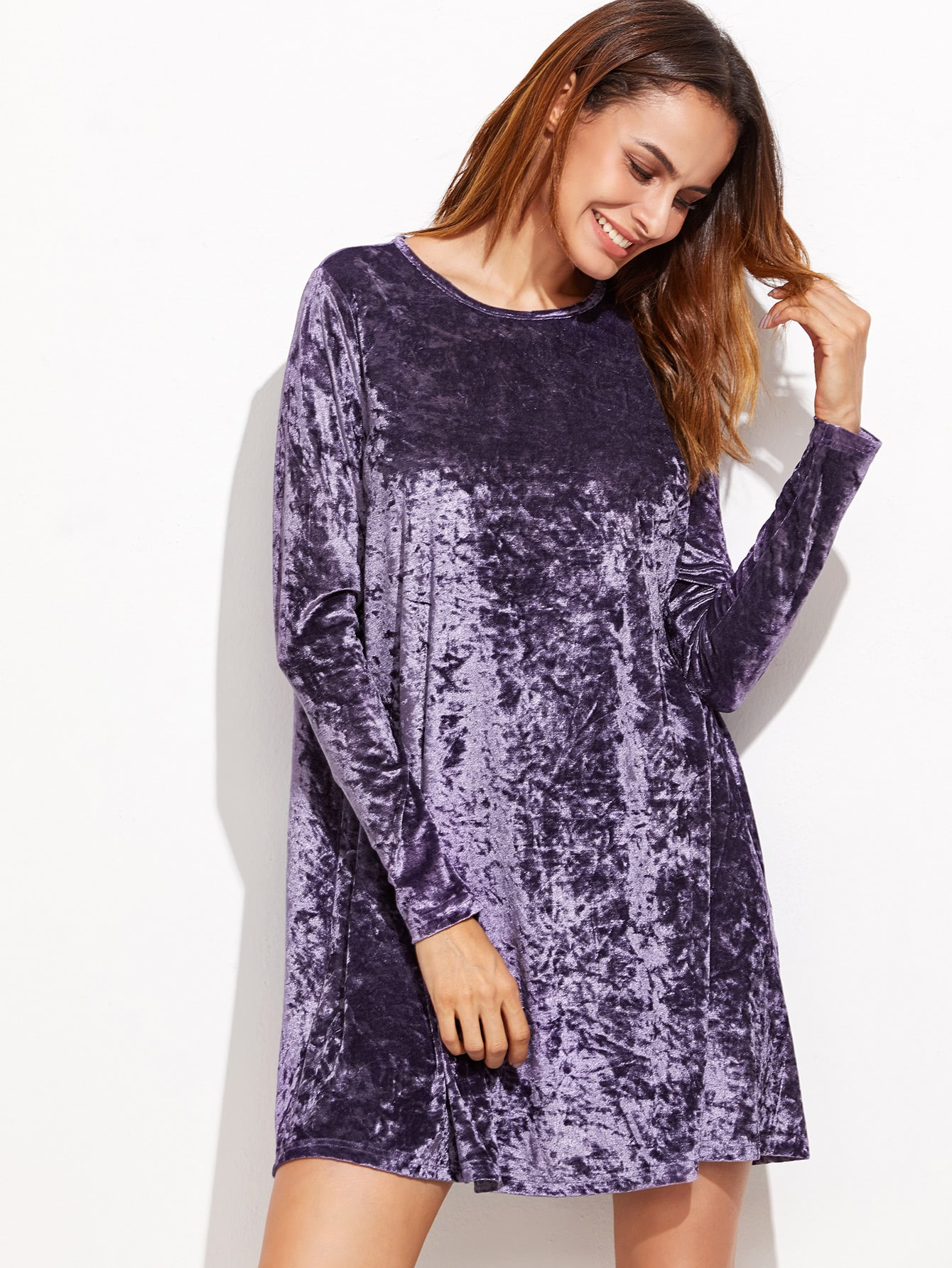 Purple Crushed Velvet Swing Dress -SheIn(Sheinside)