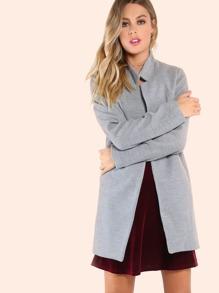 Short Tailored Wool Coat GREY
