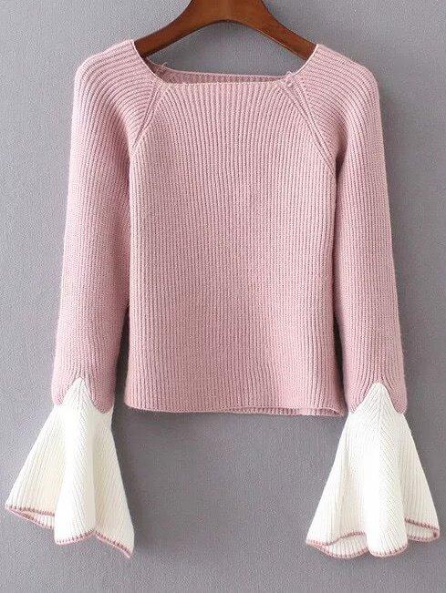 Pink Contrast Bell Sleeve Knitwear sweater161007203