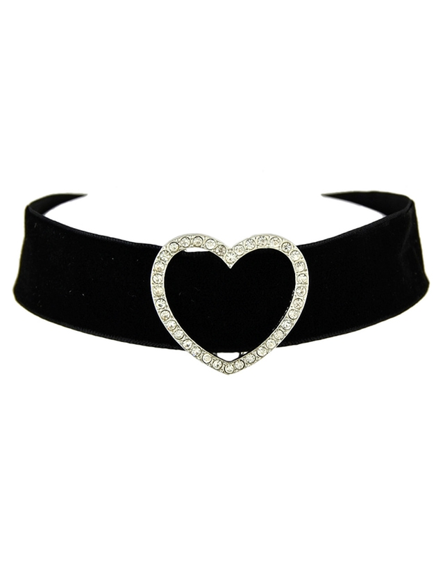 Black Wide Velvet Rhinestone Heart Choker Necklace christmas snowflake velvet wide choker necklace