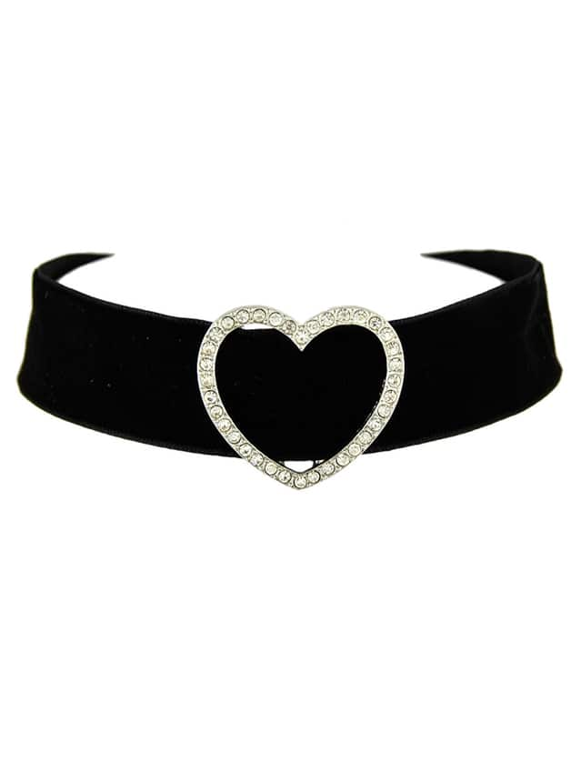 Фото Black Wide Velvet Rhinestone Heart Choker Necklace. Купить с доставкой