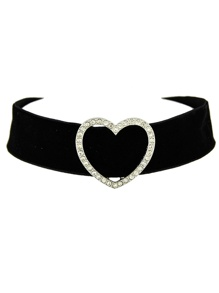 Black Wide Velvet Rhinestone Heart Choker Necklace