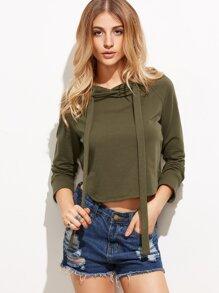 Sweat-shirt avec capuche et lacet - vert olive