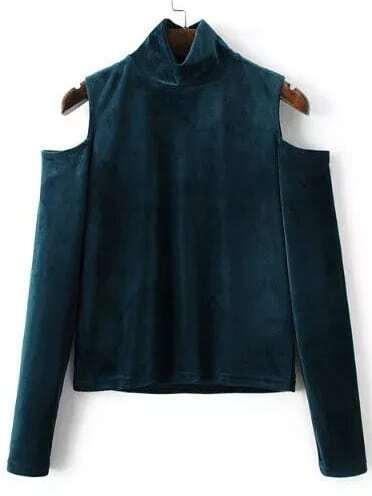 Blue Mock Neck Open Shoulder Velvet Blouse blouse161018218