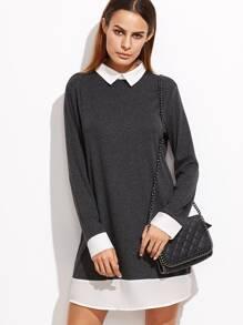 Heather Grey Contrast Collar And Trim Dress