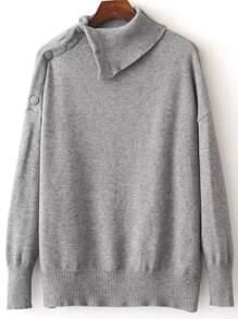 Grey Button Shoulder Asymmetrical Sweater