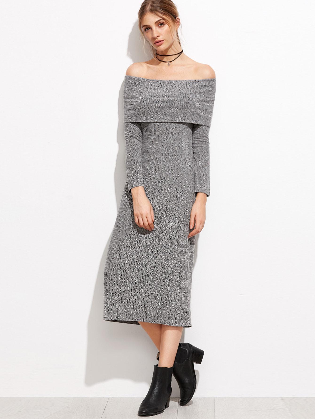 Heather Grey Foldover Off The Shoulder Ribbed Dress dress160920706